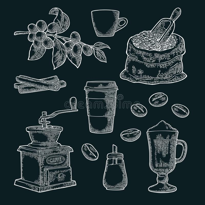 Ustawia kawę Szklany latte, ręka chwyta filiżanka Gałąź z fasolami ilustracji