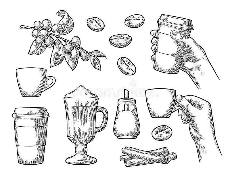 Ustawia kawę Szklany latte, ręka chwyta filiżanka Gałąź z fasolami royalty ilustracja