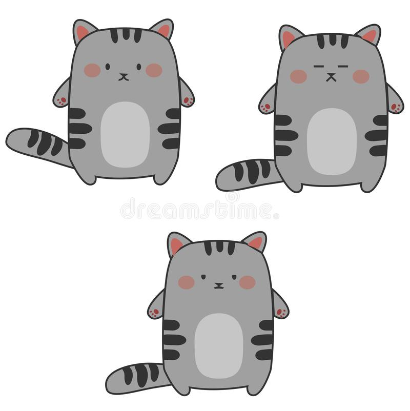 Ustawia kawaii emocji koty - spokój, nieistotność, przestępstwo ilustracja wektor