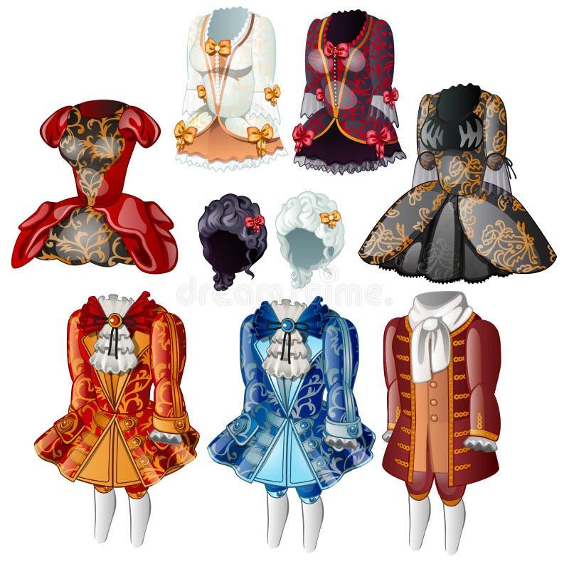 Ustawia klasyka odziewa dla gentlewomen i stron Kolekcja stare suknie według etykiety przy sądem królewiątko, royalty ilustracja