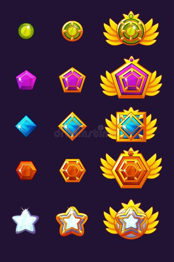 Ustawia klejnot nagrody postęp Złoci amulety ustawiający z biżuterią Wektorowe ikon wartości dla gemowego projekta royalty ilustracja