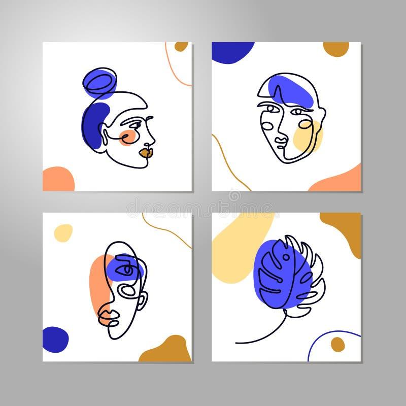Ustawia kobiety twarzy Minimalnego Kreskowego styl Ciągły Jeden Kreskowego rysunku liścia i portreta Abstrakcjonistyczny Wektorow ilustracja wektor