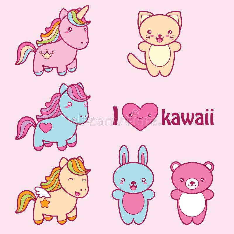 Ustawia kolekcję śliczne kawaii stylu etykietki royalty ilustracja