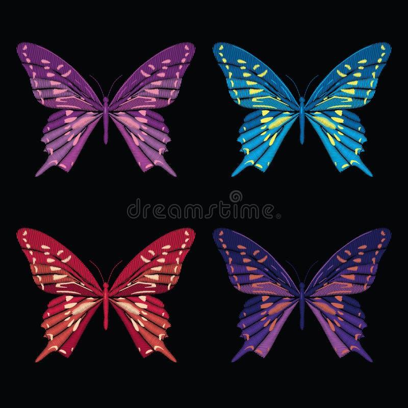 Ustawia kolekcję motyle odizolowywający na czarnym tle również zwrócić corel ilustracji wektora Hafciarscy elementy dla łat, odzn ilustracja wektor