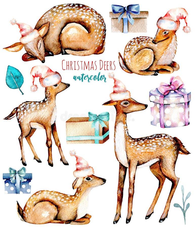 Ustawia, kolekcja akwareli deers w Bożenarodzeniowych kapeluszach, dzieci deers i prezentów pudełka, ilustracja wektor