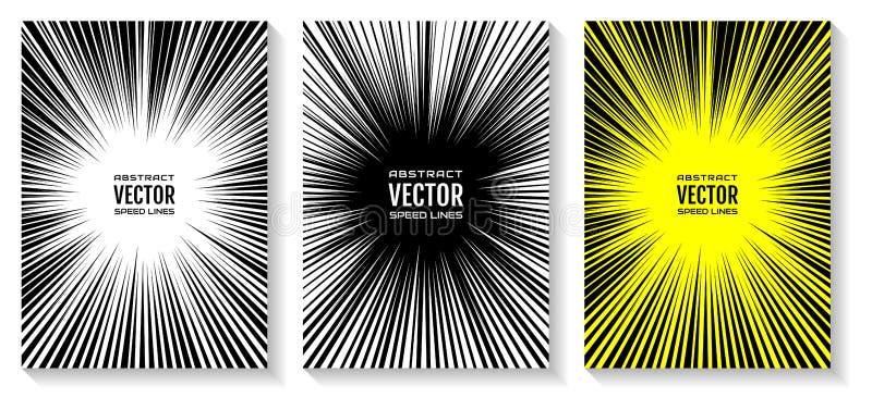 Ustawia komiks prędkości linii promieniowego tło z skutek władzy wybuchem Bezpłatna przestrzeń w centrum dla twój teksta ilustracji