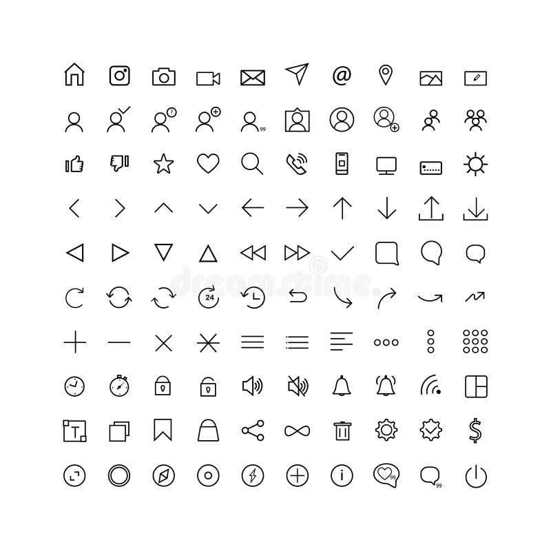 Ustawia komunikacyjną ikonę dla sieci i wisząca ozdoba, cienieje linię ilustracja wektor