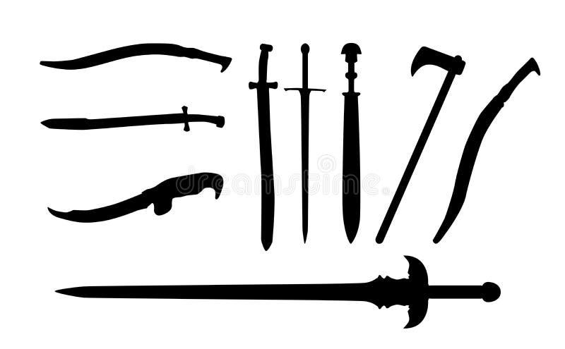 Ustawia kordzika, kordziki, Ax, maczeta wektor royalty ilustracja