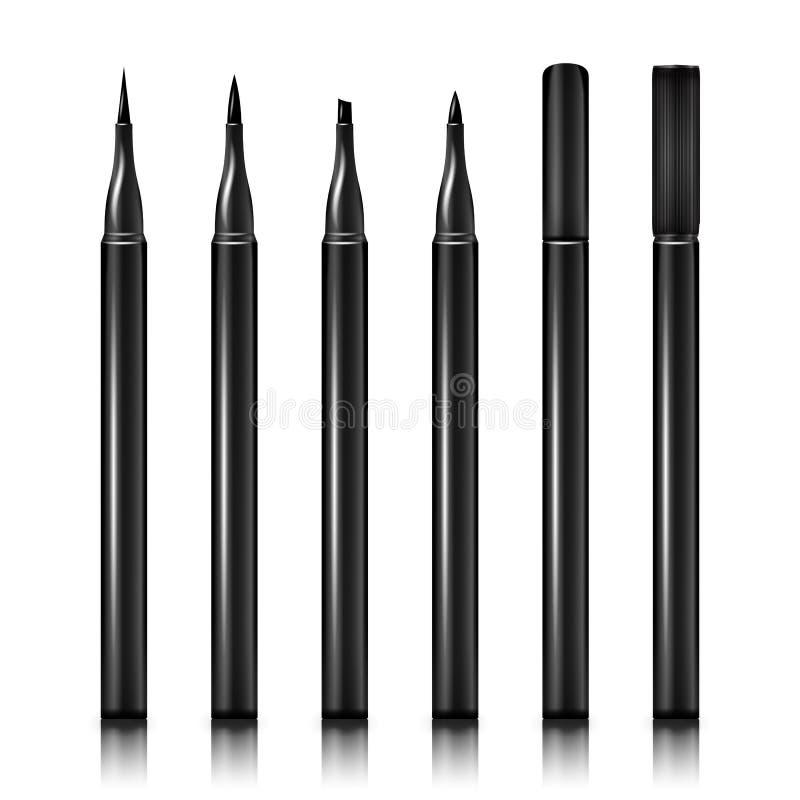 Ustawia Kosmetycznego Makeup Eyeliner ołówka wektor Eyeliner 3D ołówki bez z nakrętkami Odizolowywać na Białym tle ilustracji