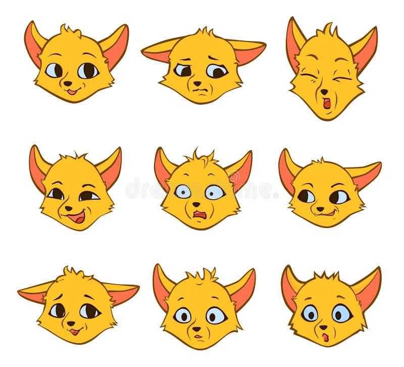 Ustawia kreskówek ciekawe emocje mały lis royalty ilustracja