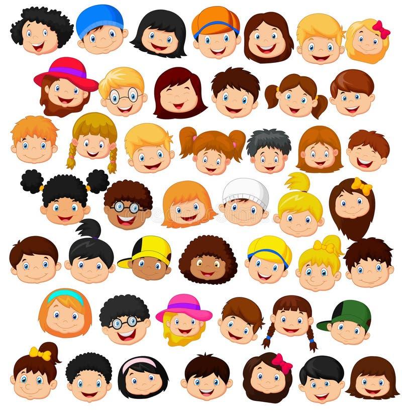 Ustawia kreskówek dzieci głowę ilustracji