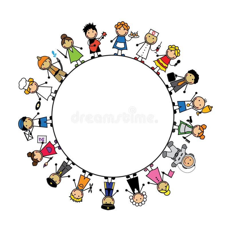 Ustawia kreskówek dzieci w kostiumach różni zawody ilustracji