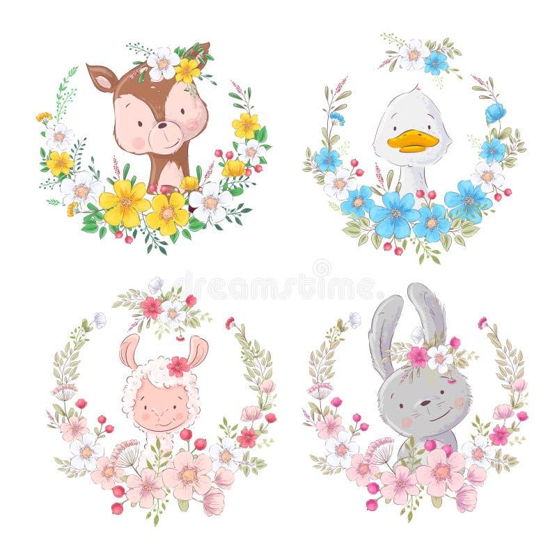 Ustawia kreskówek zwierząt rogaczy kaczki lama ślicznej zając w kwiatów wiankach dla dzieci ilustracyjnych wektor royalty ilustracja