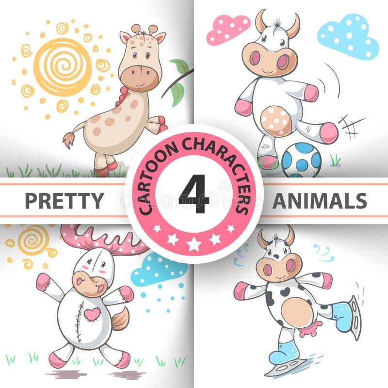 Ustawia kreskówek zwierzęta krowy, rogacz, byk, żyrafa royalty ilustracja