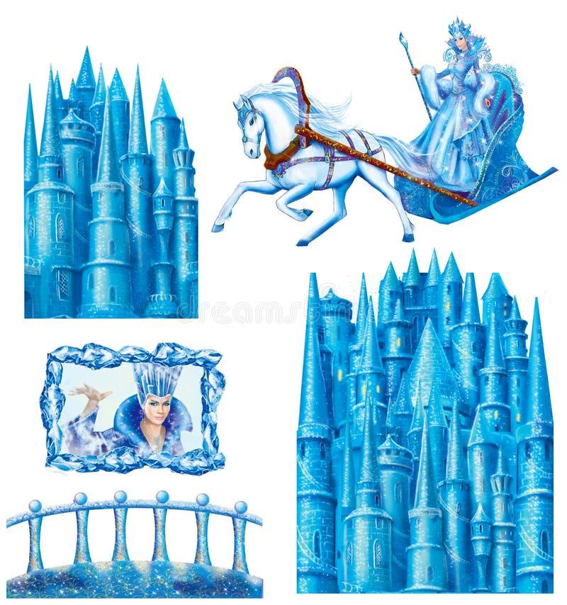 Ustawia kreskówka dom dla bajki Śnieżnej królowej pisać Hans Christian Andersen ilustracja wektor