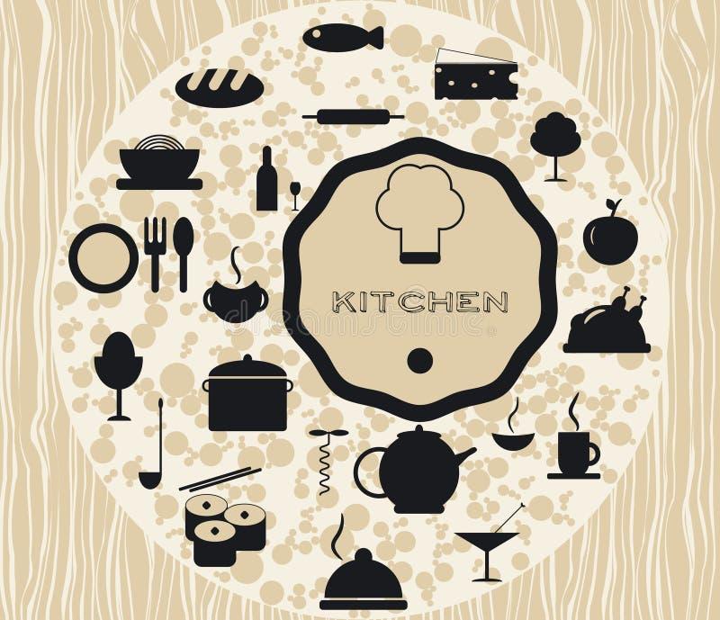 Ustawia kuchenne ikony gotuje foods ilustracja wektor