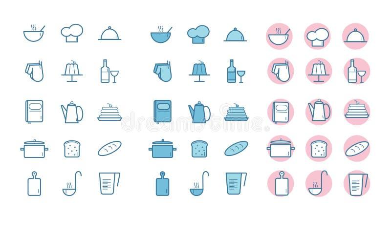 Ustawia? kuchenne ikony ilustracji