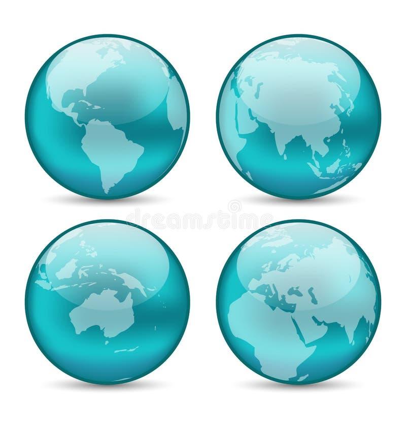Ustawia kule ziemskie pokazuje ziemię z kontynentami ilustracja wektor