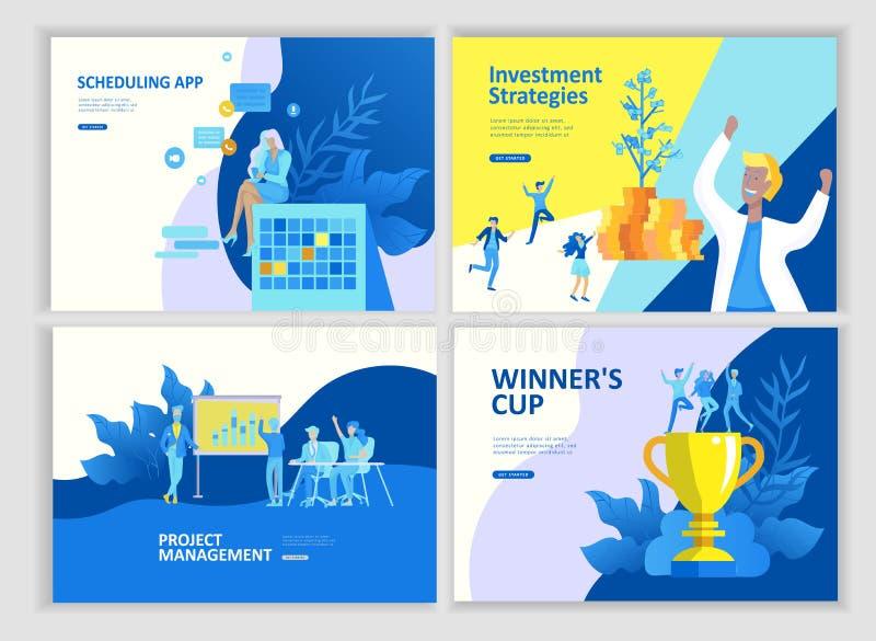 Ustawia lądowanie strony szablonu ludzi rozwija, biznesowy app, zwycięzca filiżanka, pieniężny konsultanta badanie, cooming wkrót ilustracji