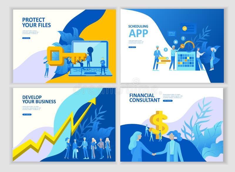 Ustawia lądowanie strony szablonu ludzi rozwija, biznesowy app, zwycięzca filiżanka, pieniężny konsultanta badanie, cooming wkrót royalty ilustracja