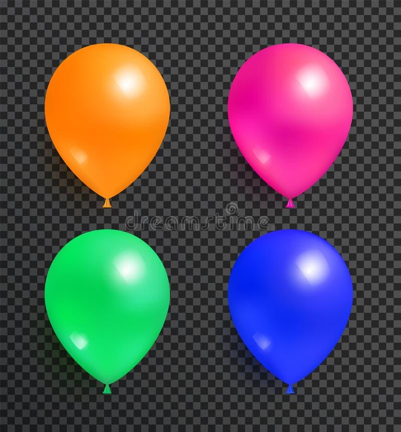 Ustawia latanie balony pomarańcz menchii błękit i zieleń ilustracja wektor