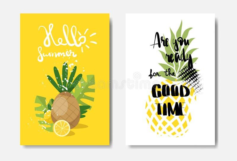 Ustawia lato projekta ananasowa odznaka Odizolowywającą Typograficzną etykietkę cześć Sezonów wakacje pisze list dla loga, szablo royalty ilustracja