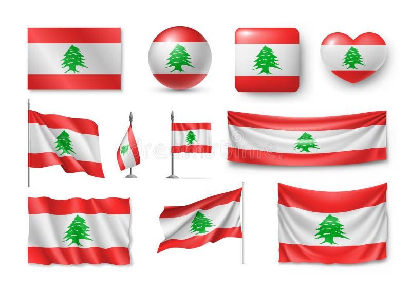Ustawia Liban flaga, sztandary, sztandary, symbole, płaska ikona ilustracja wektor