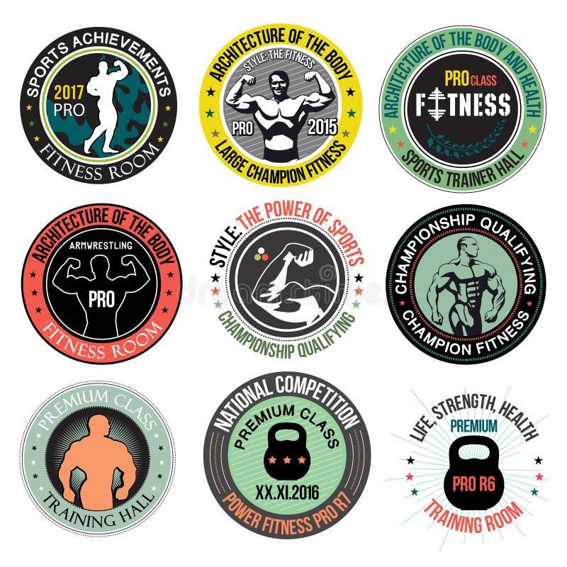 Ustawia logów, emblematy i projektów elementy Bodybuilding i sprawności fizycznej, ilustracji