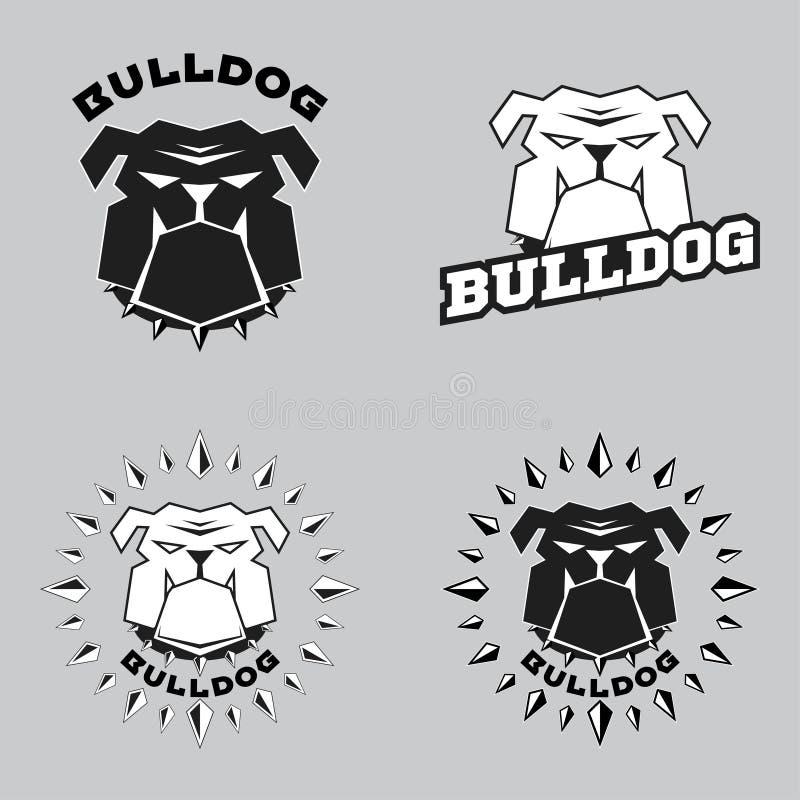 Ustawia loga buldoga głowę royalty ilustracja