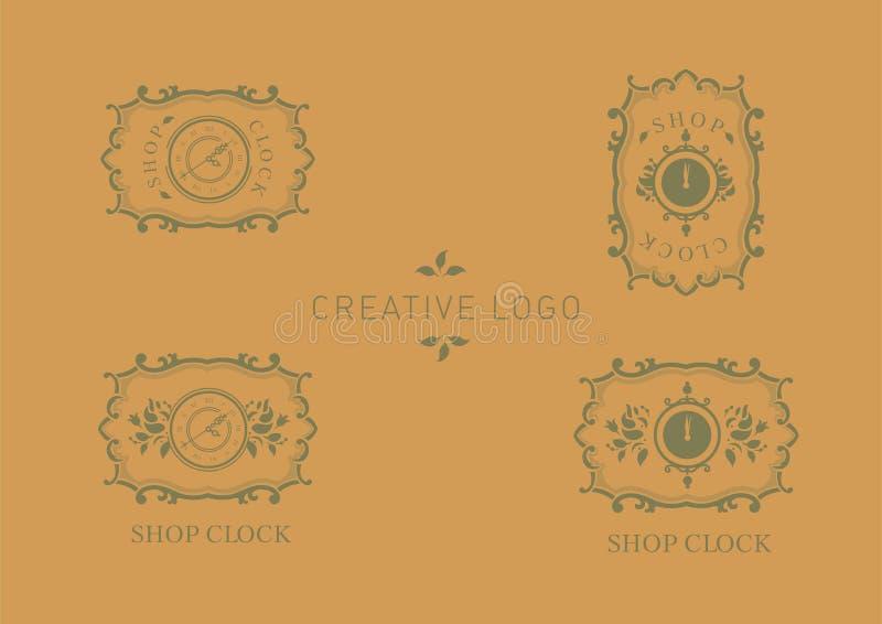 Ustawia loga dla sklep godzin, kwiecista rama ilustracja wektor