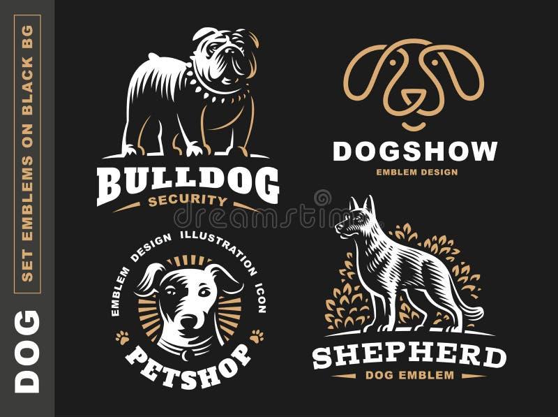 Ustawia logo ilustraci psa, zwierzę domowe emblemat na czarnym tle ilustracji
