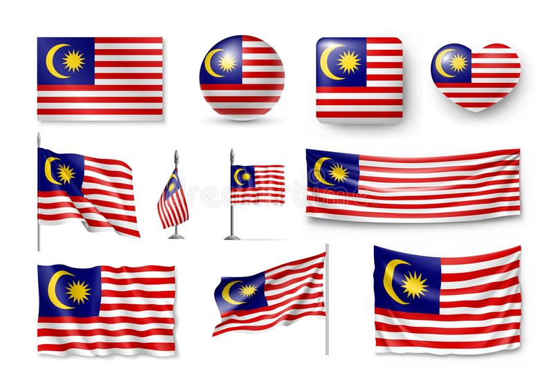 Ustawia Malezja flaga, sztandary, sztandary, symbole, płaska ikona ilustracji