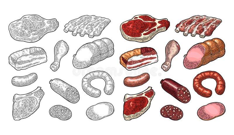 Ustawia mięsnych produkty Rocznika rytownictwa czarna ilustracja Ja ilustracja wektor