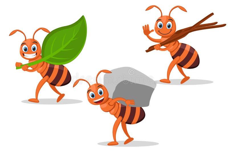 Ustawia mrówki niesie liść, kamień i gałąź na bielu, royalty ilustracja