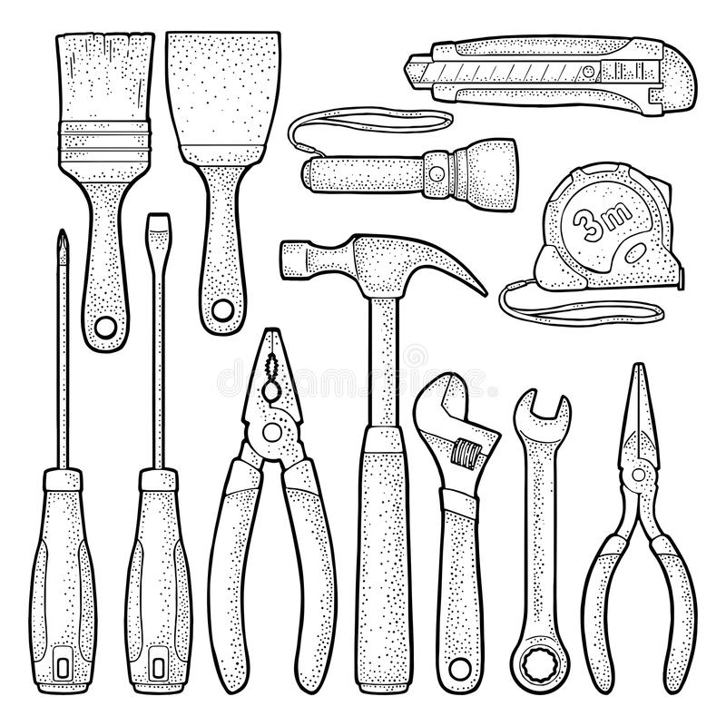 Ustawia narzędzi narzędzia Wektorowy rytownictwo ilustracja wektor