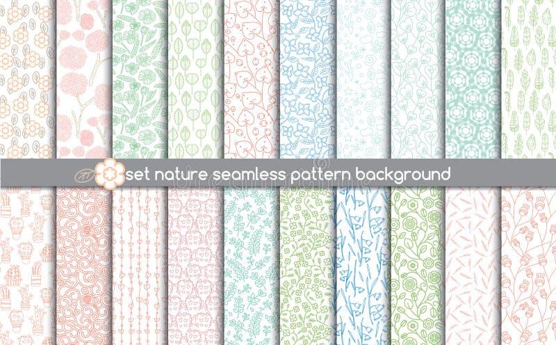 Ustawia natura bezszwowych wzory deseniowi swatches zawierać dla ilustratora użytkownika, ilustracja wektor