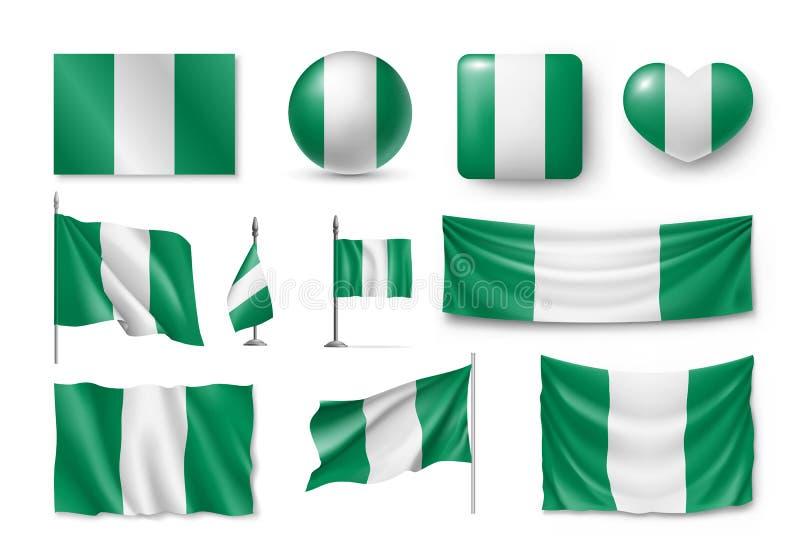 Ustawia Nigeria flaga, sztandary, symbole, płaska ikona ilustracja wektor