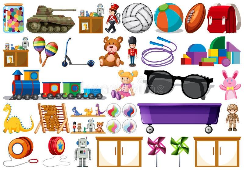 Ustawia od dzieci zabawki ilustracji