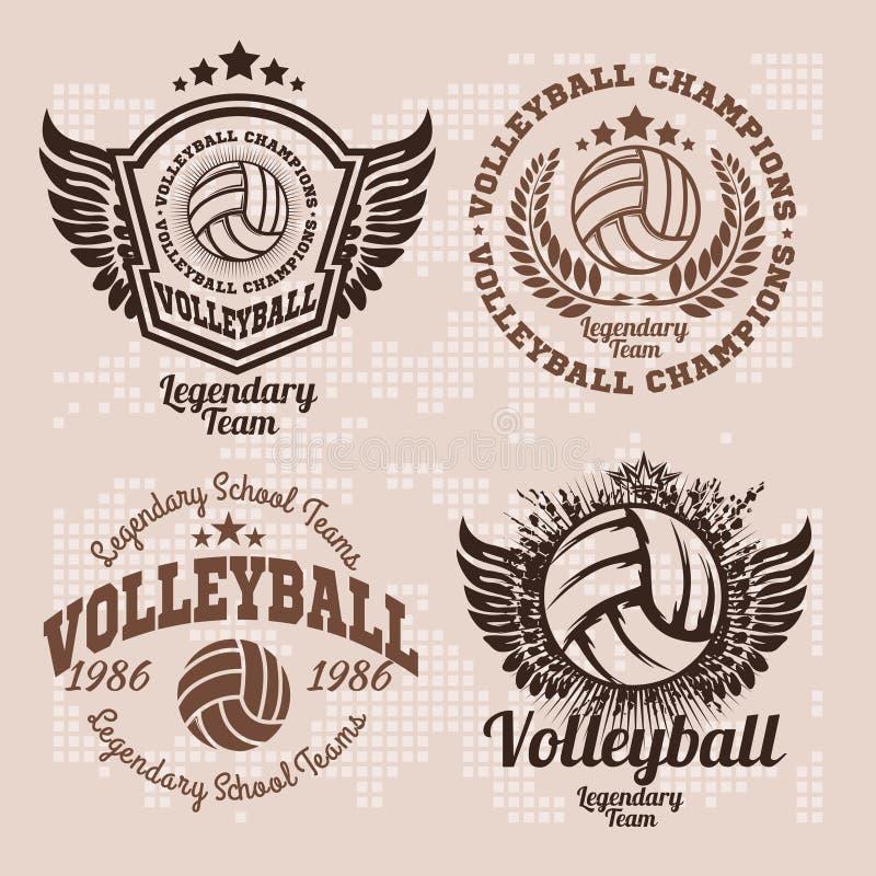 Ustawia odznaka logów siatkówki drużyny i turnieje, mistrzostwo siatkówka royalty ilustracja