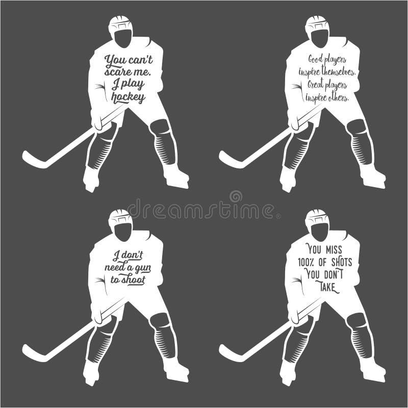 Ustawia ofhockey motywacyjne wycena ilustracji