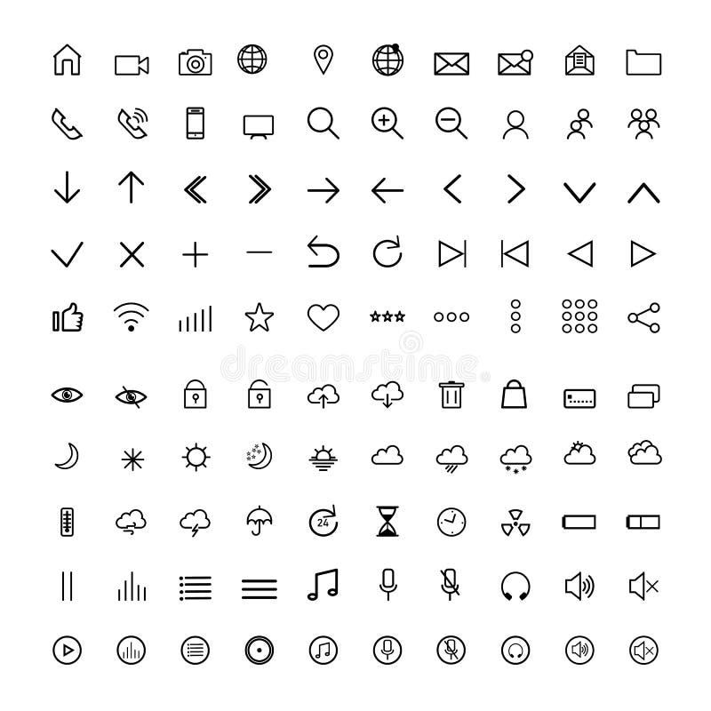 Ustawia ogólnoludzkie nowożytne ikony, cienieje linię, royalty ilustracja