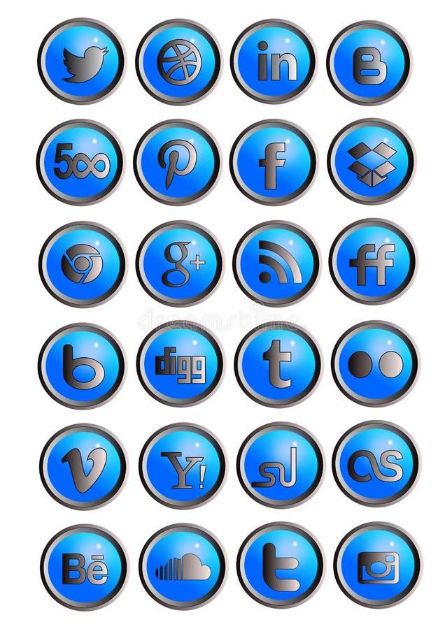 Ustawia ogólnospołeczne sieci ikony ilustracja wektor