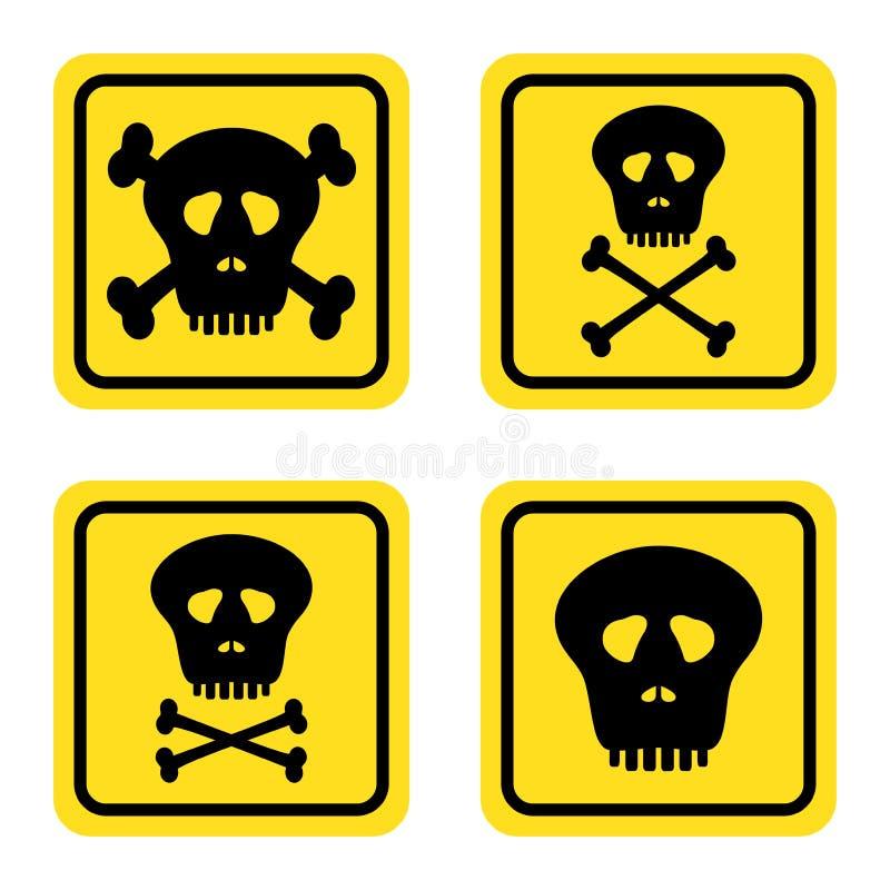Ustawia ostrzegawczych żółtych znaki z czerń konturu niebezpieczeństwem ludzkie czaszki i ludzkie kości krzyżujący na białym tle ilustracji