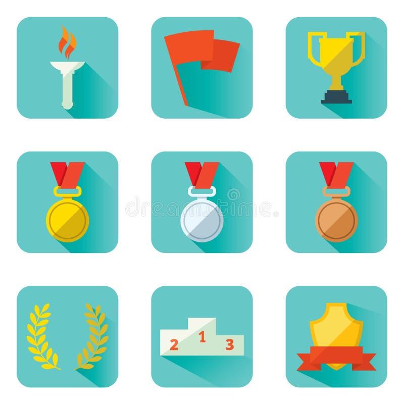 Ustawia płaskich wektorowych ikona sportów nagród osiągnięcia i atrybuty royalty ilustracja