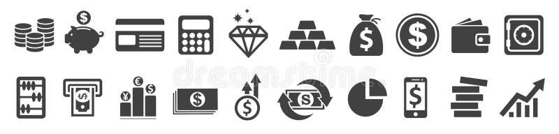 Ustawia Płaskie Biznesowe ikony, pieniędzy znaki - wektor ilustracja wektor