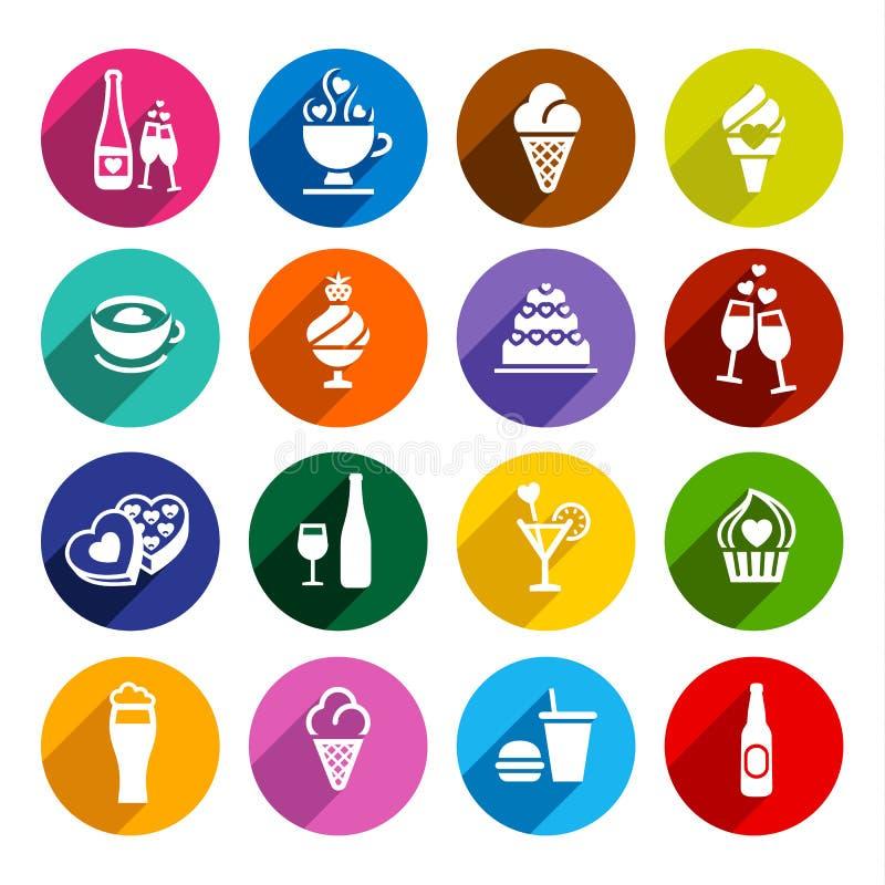 Ustawia płaskie karmowe ikony ilustracja wektor