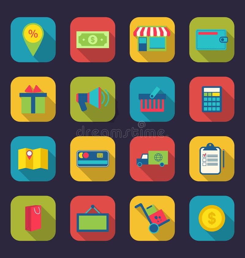 Ustawia płaskie kolorowe ikony handlu elektronicznego zakupy symbol ilustracji