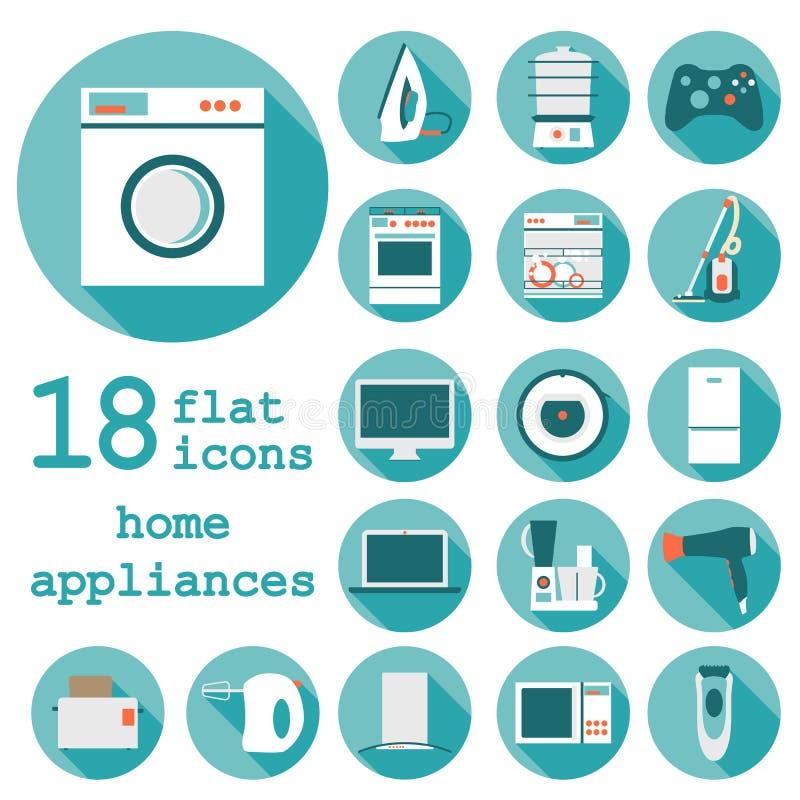 Ustawia płaskie projekt ikony domowi urządzenia z długim ilustracja wektor