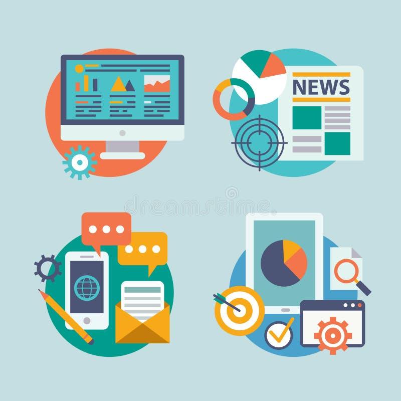 Ustawia płaskiego projekt dla interneta marketingu Ikony mogą ilustracji