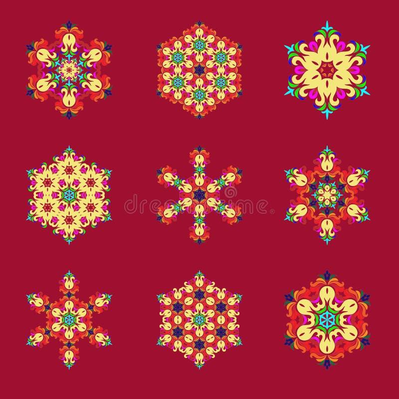 Ustawia płatek śniegu - mandala na dowcipniś rewolucjonistki tle Ornament dla Bożenarodzeniowego końcówka nowego roku ilustracji